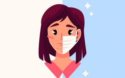 Een mondmasker veroorzaakt maskne